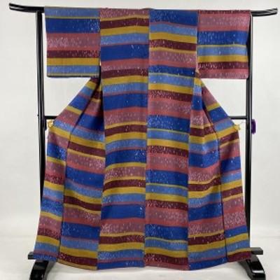 小紋 美品 名品 横段 幾何学模様 赤紫 袷 身丈166.5cm 裄丈64cm M 正絹 中古