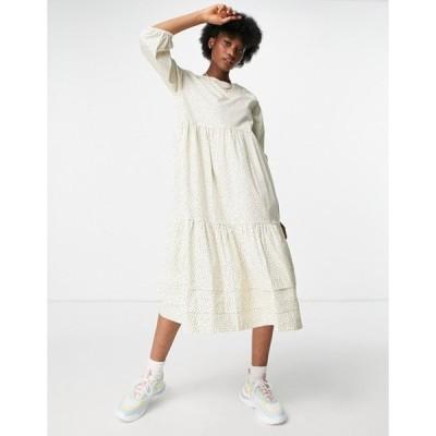 モンキ レディース ワンピース トップス Monki Vira midi smock dress in cream dot print