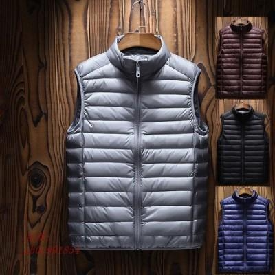 メンズダウンベスト 軽量ジャケット ノースリーブアウター 4色 メンズファッション メンズダウンベスト 暖かい二点