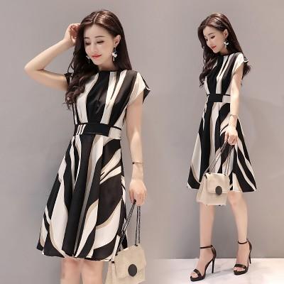 ファッションスカートA Large Number Of Spot Mid-Length Skirts Short-Sleeved Striped Dress Summer New Women s De