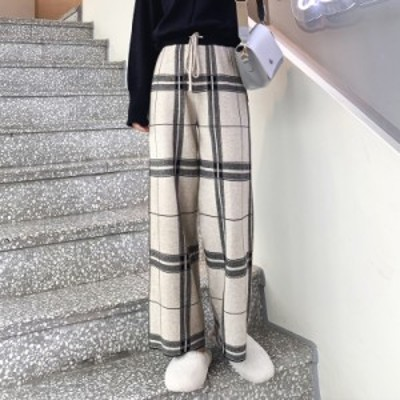 ワイドパンツ レディース ハイウエスト 韓国 ファッション レディース 秋冬 ワイドパンツ レディース チェック レディース ハイウエスト