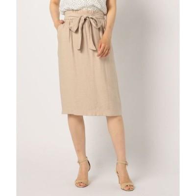 スカート リボン付ミディ丈スカート