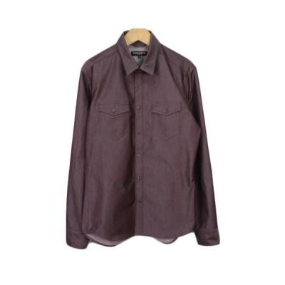 【中古】ハイダウェイ ニコル HIDEAWAYS シャンブレーツイルシャツ 46 紫 ボルドー メンズ 【ベクトル 古着】