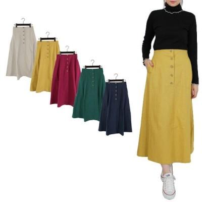 スカート 春夏 スカート フレアスカート ロング ロングスカート 綿 コットン100% マキシ ボトムス レディース