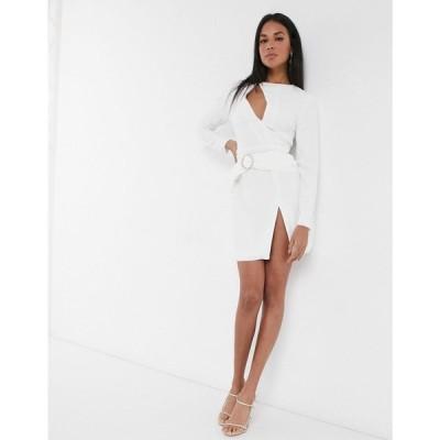 アリア Aria Cove レディース ワンピース ミニ丈 ワンピース・ドレス cut out mini dress with diamante belt in white ホワイト