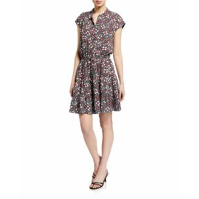 レベッカミンコフ レディース ワンピース トップス Ollie Floral-Print Dress BLACK MULTI