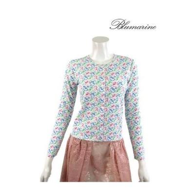 【春夏物】Blumarine【ブルマリン】バラ薔薇プリントのレーヨンニットアンサンブル・長袖・タンクトップ/ブルー【サイズ38/40】【イタリア製】