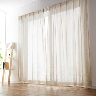 ヴィンテージ風の裾スカラップレースカーテン[日本製]  約100×88(2枚)