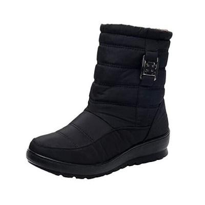 (ダダウン)DADAWEN レディース スノーブーツ ショート丈 もこもこ 防寒防水ブーツ 美脚 歩くやすい 滑り止め 通勤 旅行 ブラック