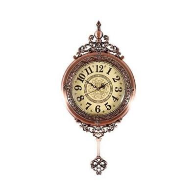 GZHK Antique Retro Decorative Wood Clocks Ultra Mute Silent Quartz Movement Wooden Wall Clock with Swinging Pendulum for Living Room, Kitche