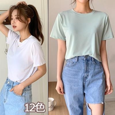 ENVYLOOK韓国ファッションカジュアルECサイト1位 ENVYLOOK冷感ストレッチラウンド半袖Tシャツ12COLOR送料無料