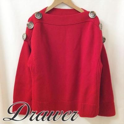 Drawer ドゥロワ— ニット レッド 大きなボタン レッド |秋冬B1212I003