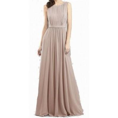 Jenny Yoo ジェニーヨー ファッション ドレス Jenny Yoo NEW Beige Womens Size 12 Pleated Chiffon Sheath Dress