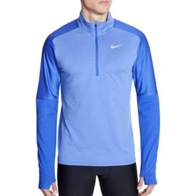 ナイキ メンズ シャツ トップス Nike Men's Dri-FIT Zip Running Long Sleeve Shirt Astronomy Blue