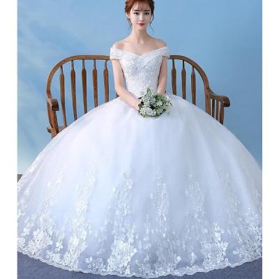 20代30代 パーティードレス ホワイト ドレス 二次会 ロング 花柄 ロングドレス 着痩せ ウエディングドレス 結婚式 プリンセス 花嫁 フレアスカート エレガント