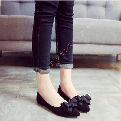 パンプス 痛くない ローヒール ぺたんこ 黒 ブラック 柔らかい リボン付き 大きいサイズ 美脚 歩きやすい 立ち仕事 ポインテッドトゥ 軽量 防臭