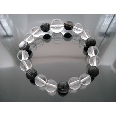 ポイント10%還元!【ネコポス送料無料】天然石 数珠ブレスレット(水晶&天眼石) OVSTNB-020