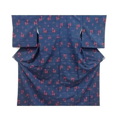 宗sou 絣柄織出手織り真綿紬着物【リサイクル】【着】