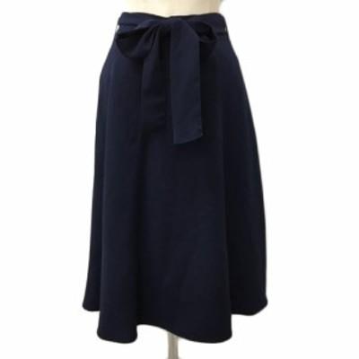 【中古】ロペピクニック スカート フレア ギャザー ひざ丈 リボンベルト 無地 40 紺 黒 ネイビー ブラック