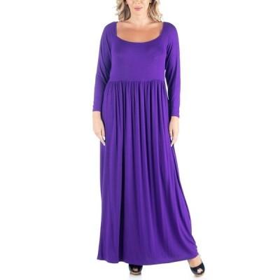 24セブンコンフォート ワンピース トップス レディース Women's Plus Size Empire Waist Maxi Dress Purple