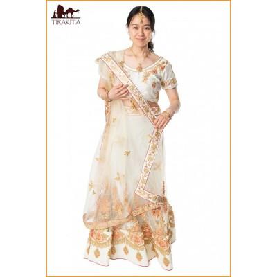 送料無料 パーティードレス コスプレ ウェディングドレス (1点物)インドのレヘンガドレスセット ホワイト
