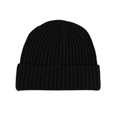 メンズリブ編み100?%カシミアニット帽???ブラック???Made in Scotland by LoveカシミアRRP $ 180