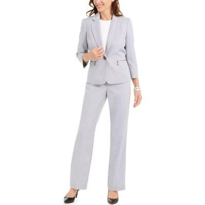 ル スーツ Le Suit レディース スーツ・ジャケット パンツスーツ アウター Striped Pantsuit Black/White