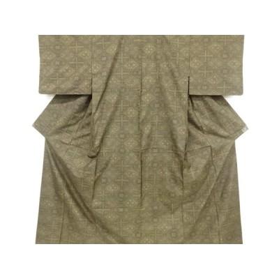 リサイクル 斜め格子に花菱模様織出本場泥大島紬着物(7マルキ)
