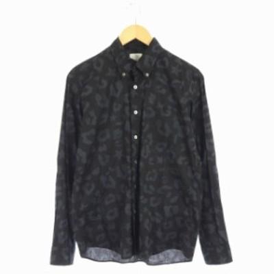 【中古】ユニフォームエクスペリメント レオパード×スター柄BDシャツ ボタンダウン 長袖 1 黒 グレー