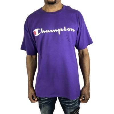 Champion Tシャツ ロゴ チャンピオン 紫 パープル 大きい オーバーサイズ LL 半袖 春夏 メンズ トップス●tsa452