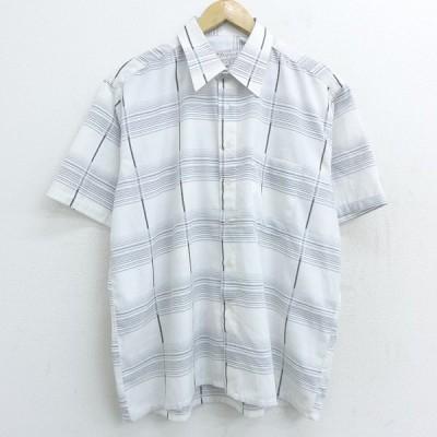 XL/古着 半袖 シャツ コットン 白他 ホワイト チェック 21apr19 中古 メンズ トップス