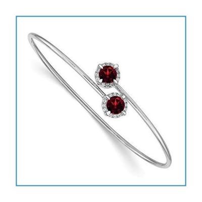 """新品Solid 14k White Gold Garnet January Red Gemstone Flexible Bangle Cuff Bracelet 7"""" (Width = 7mm) (.12 cttw.)【並行輸入品】"""