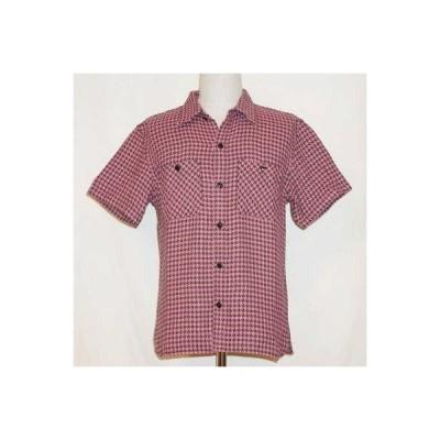 CO-29HW-ピンクチャコール-千鳥格子ワークシャツ29半袖-CO29HW-FLATHEAD-フラットヘッドシャツ