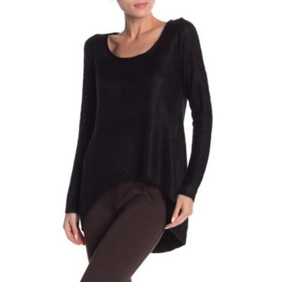 バーティゴ レディース ニット&セーター アウター Hi-Lo Scoop Neck Fuzzy Pullover Sweater BLACK