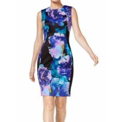 Calvin Klein カルバンクライン ファッション ドレス Calvin Klein Womens Blue Size 6 Floral Print Scuba Sheath Dress
