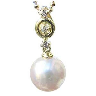 真珠 ペンダントトップ パール あこや本真珠 ダイヤモンド 7mm K18 ゴールド
