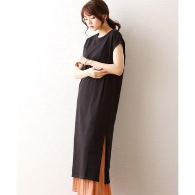 細見えフレンチスリーブしっかり素材のロングワンピース (ワンピース)Dress