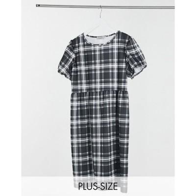 ストリートコレクティブ ドレス 大きいサイズ レディース Street Collective Curve jersey tiered smock dress in check  エイソス ASOS sale マルチカラー