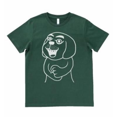 デザインTシャツ 変な犬 Tシャツ モスグリーン