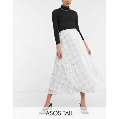 エイソス ASOS Tall レディース ひざ丈スカート スカート ASOS DESIGN Tall pleated midi skirt with check print detail in white