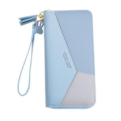 女性財布リストレットクラッチカードホルダーオーガナイザー電話財布ロングブルー