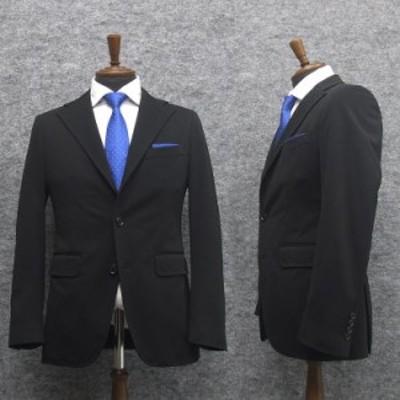 ニュートレンドスーツ 2タックパンツ ニット素材 スタイリッシュ段返り3釦シングルスーツ 黒/無地 通年物 メンズ J8501