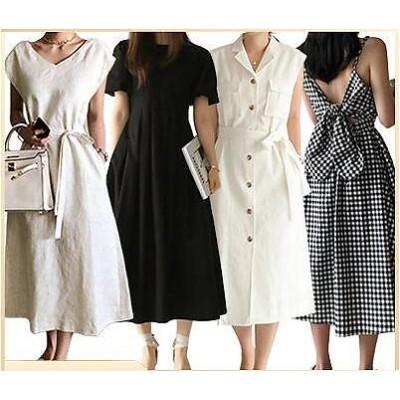 【3枚+1枚】高品質韓国ファッションドレスセクシーなワンピース一字肩二点セット側開深いVネックやせて見えるハイウエスト半袖ドレス スカート ドレスリネンワンピース