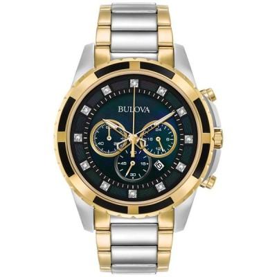 ブロバ メンズ 腕時計 アクセサリー Men's Chronograph Diamond Accent Two-Tone Stainless Steel Bracelet Watch 44mm 98D132