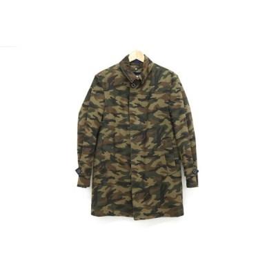 #anc  シップス SHIPS コート ジャケット S 緑 茶色 迷彩柄 カモフラージュ ライナー付き メンズ [561926]