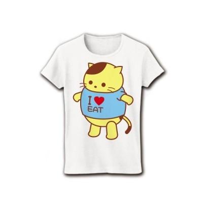 ポチャねこ I Love EAT リブクルーネックTシャツ(ホワイト)