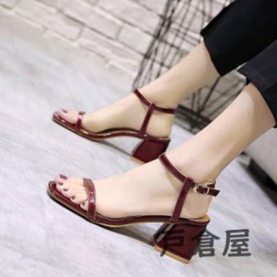 サンダル レディース 履きやすい 夏 サンダル 太めヒール ミュール ハイヒール靴 ストラップサンダル ローマブール 歩きやすい 美脚 大人