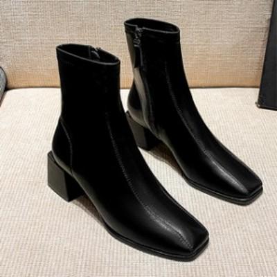 オフィスシューズ黒 サイドゴアブーツ ショート ブーツ レディース ショート ブーツ ペタンコ エンジニアブーツ ブーツ ブーティシューズ