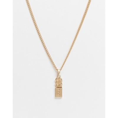 アイコンブランド メンズ ネックレス・チョーカー アクセサリー Icon Brand neckchain in gold with curb chain detail pendant Gold