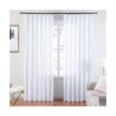 Topfinel レースカーテン 綿麻の質感 夜も透けにくい(約70% UVカット 遮像)遮熱 断熱 省エネ 無地 ナチュラル 可愛い 洗え